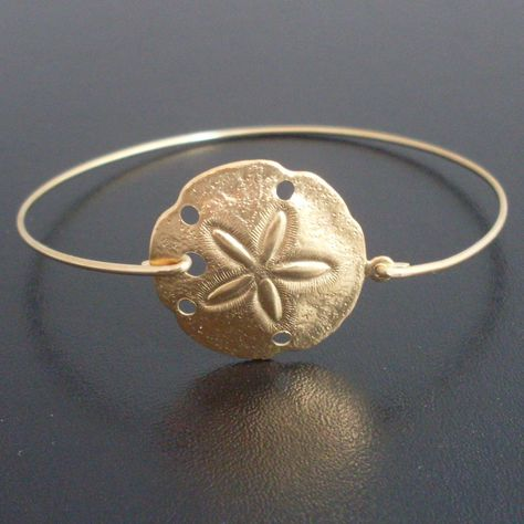 Sand Dollar Charm Bracelet, Gold Sand Dollar Bangle, Beach Bridal Jewelry, Beach Theme Jewelry, Ocean Wedding Bracelet Ocean Wedding Jewelry. $15.50, via Etsy.