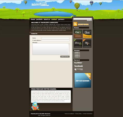 Traveler\'s Landscape XHTML drawn styled template #Landscape ...