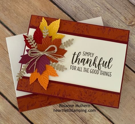 Picks from My Pals! (Mary Fish, Stampin' Pretty The Art of Simple & Pretty Cards) Diy Thanksgiving Cards, Holiday Cards, Christmas Cards, Geek House, Stampin Up Karten, Leaf Cards, Stamping Up Cards, Pretty Cards, Halloween Cards