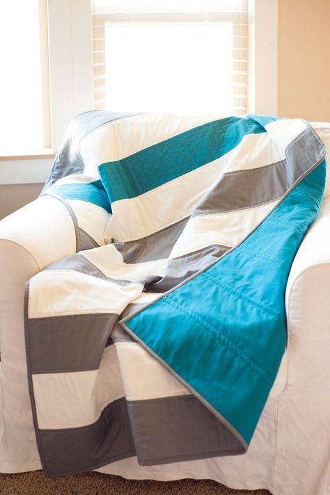 The Baby Boy Quilt in stripes. By: The Vintage Clothespin. Made to order. Perfect size for baby and toddler. It fits both bed sizes!!
