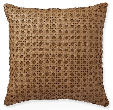Cane Woven Leather Pillow Cover, Tan