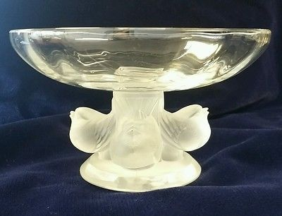 Signed Lalique Crystal 5 Inch Figurine Sparrow Bird 1 Head Up