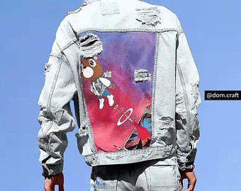 Kanye West Graduation Hand Painted Denim Jacket Painted Denim Jacket Painted Denim Denim Jacket Men
