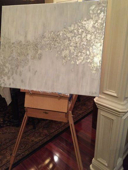 16 Trendy Ideas For Bedroom Grey Gold Silver Leaves Abstrakte Kunst Gemalde Blattgold Kunst Abstrakte Malerei