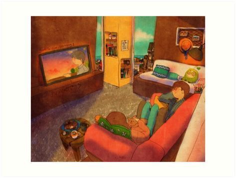 Buy 'Watching TV' by puuung1 as a Poster, Art Print, Canvas Print, Framed Print, Art Board, or Greeting Card