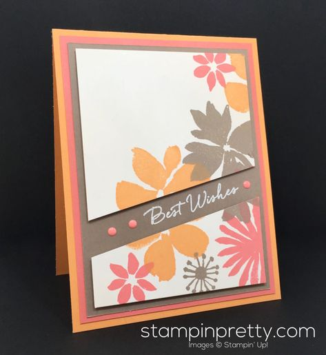 Hand stamped birthday card is loaded with flower images from Blooms & Wishes Photopolymer Stamp Set. Order Stampin' Up! On-Line!