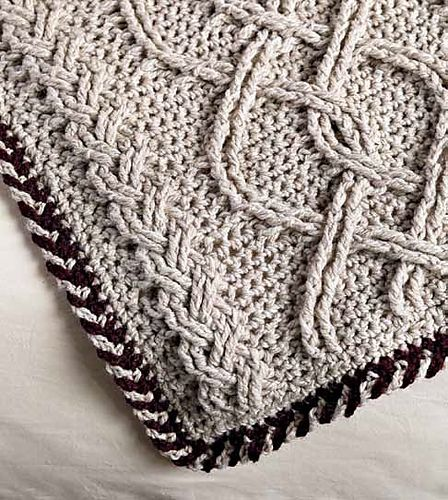 Cabled afghan worked in 5 pieces and joined via single crochet in the log cabin style.