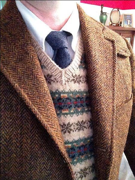 Redwood & Ross Harris Tweed, Brooks Brothers OCBD and sweater vest ...