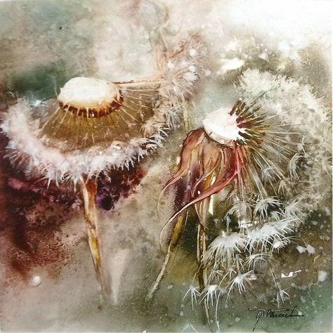 Roselyne Farail Art Pissenlit Peinture Fleurs Aquarelle Fleurs