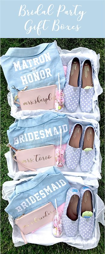 Bridesmaid Proposal Box with Personalized Chambray Shirts, TOMS Shoes, Champagne Glasses, Customized Wristlets. Bridesmaids & Maid of Honor Gifts - The Sparkly Co. party gifts Personalized Bridesmaid Gift Boxes - All That Sparkles Best Bridesmaid Gifts, Bridesmaid Gift Boxes, Bridesmaid Proposal Gifts, Bridesmaid Shirts, Wedding Gifts For Bridesmaids, Personalized Bridesmaid Gifts, Wedding Favors Cheap, Personalized Shirts, Brides Maid Gifts