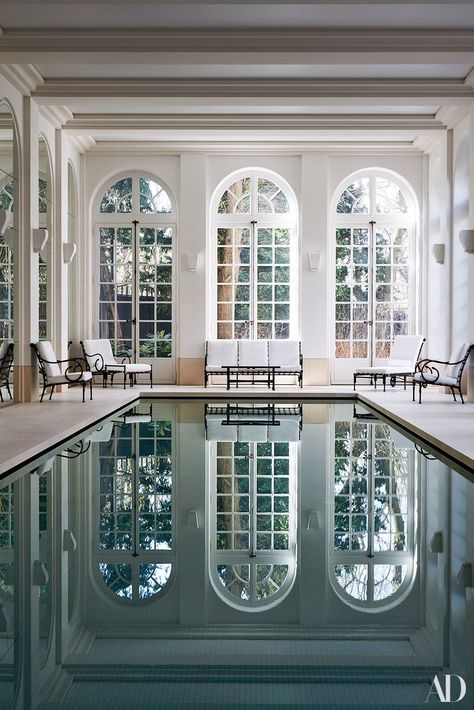 Indoor Swimming Pool Ideas - You want to build a Indoor swimming pool? Here are some Indoor Swimming Pool designs and ideas for you. Indoor Swimming Pools, Swimming Pool Designs, Lap Swimming, Lap Pools, Backyard Pools, Pool Decks, Pool Landscaping, Indoor Pools In Houses, Architectural Digest