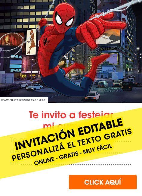 25 Invitaciones De Spiderman Gratis Para Editar