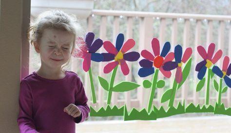 Foam sheets, water, window art - make a row of flowers