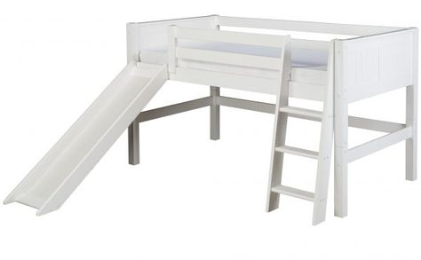 Full Size Low Loft Bed With Slide Panel Headboard White Finish Low Loft Beds Bed With Slide Bunk Beds With Stairs