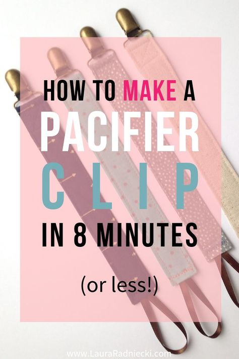 Ever wondered how to make a pacifier clip? No more baby pacifiers on the disgusting floor; you can make a pacifier holder in 8 minutes (or less) with this DIY tutorial! Use up your fabric scraps, ribbon, and cute metal clips to sew homemade pacifier clips Baby Sewing Projects, Sewing Projects For Beginners, Sewing Hacks, Sewing Tips, Baby Sewing Tutorials, Sewing Crafts, Diy Baby Gifts, Baby Crafts, Baby Shower Gifts