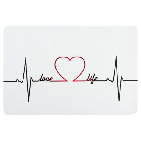 Heart beat with love life inspirational quote floor mat