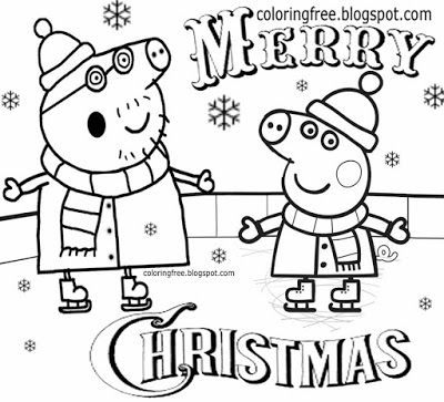 Cool Fun Skating Playing On The Ice Rink Simple Drawing Peppa Pig Christmas Coloring Pages For Pr Peppa Pig Coloring Pages Coloring Pages Winter Coloring Pages