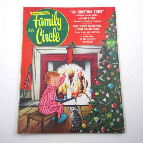 Vintage 1960s Everywoman's Family Circle Magazine December 1960 Issue The Christmas Ghost Story by Pearl S. Buck Gyo Fujikawa Illustrations