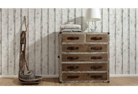 Schones Vintage Design Welches Sich Toll Mit Anderen Holzmobeln Kombinieren Lasst Die Helle Tapete In Holzoptik Wirkt Be Tapete Holzoptik Tapete Holz Tapeten