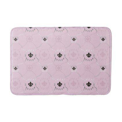 Ash Rose Fleur De Lis French Lili Silver Pattern Bath Mat