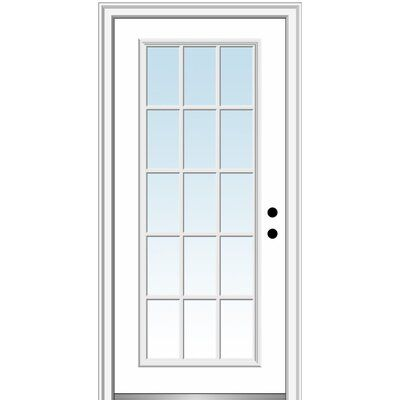 Verona Home Design Fibreglass Smooth 15 Lite External Grilles Clear Glass Single Entry Door Door Orientation Left Hand In 2020 Mmi Door Front Entry Doors Single Doors