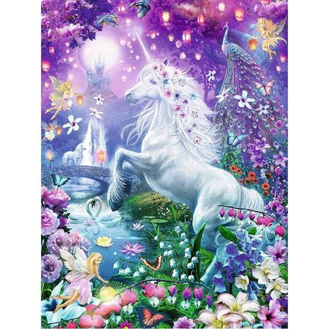 Full Drill DIY Diamond Mosaic Unicorn in Fairyland (5 sizes)