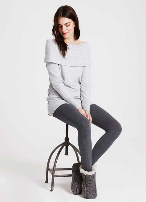 Silver Grey Oversize Cowl Neck Tunic