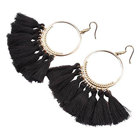 LQZ TM Femme Boucles dOreilles Pendantes Long Frange Vintage Pendentif Fantaisie Ethnique Bijoux