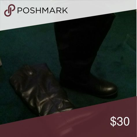 American eagle Leather boots Dark brown , almost knee height, American Eagle Outfitters Other