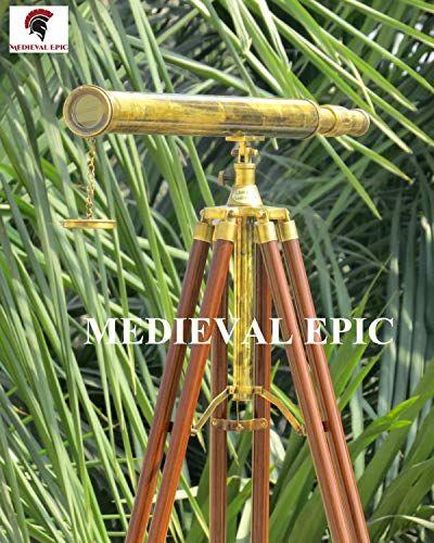 "Antique Nautical Harbor Master Brass Floor Standing Tripod Telescope 65/"" Tall"