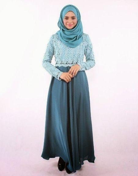 Model Gamis Rompi Brokat Panjang Gaun Fashion Baju Muslim Gaya Hijab