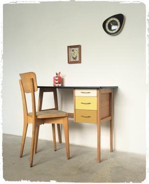 Bureau Vintage Pieds Compas Revisite Mobilier Decoration Maison Decoration Vintage