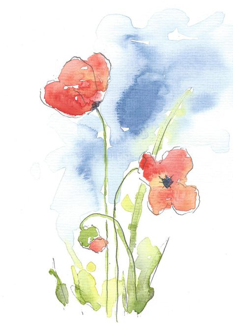 Watercolor Greeting Card Watercolor Card Floral By Mabartstudio