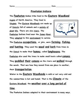 American Indian Reading Passage With Question Homeschool Social Studie Essay Questions On Culture