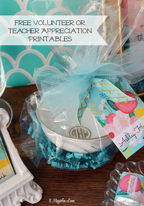 Free floral printables for volunteer or teacher appreciation--frameable quotes (great for gifts), name tags, gift tags, and chocolate wrappers.