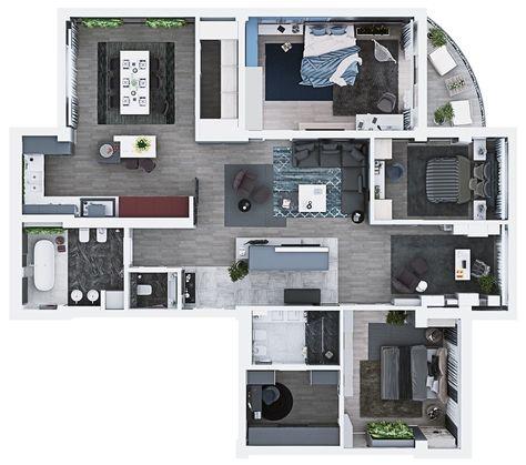 Luxury 3 Bedroom Apartment Design Under 2000 Square Feet ...