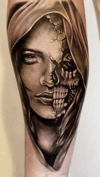 Half And Half Tattoos3 Pinterest Tattoos Face Tattoos And