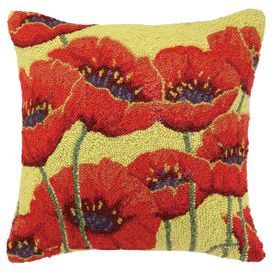 "Hand-hooked wool and cotton pillow with a floral motif.   Product: PillowConstruction Material: Wool and cotton cover and polyester fillColor: MultiFeatures:  Hand-hookedInsert included Dimensions: 18"" x 18""Cleaning and Care: Spot clean"