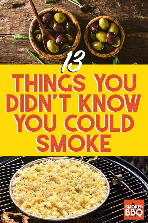 Smoker Recipes 56416 Venture into uncharted territory with these recipes for things you didn't know you could smoke. Learn how to smoke olives, cheese, and even ice cream. Plus plenty of great bbq options for vegetarians. Smoker Grill Recipes, Smoker Cooking, Grilling Recipes, Grilling Tips, Electric Smoker Recipes, Barbecue Recipes, Smoked Eggs, Smoked Cheese, Bbq Ribs