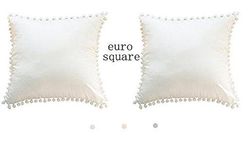 White Pom Pom Pillow Cover Cotton