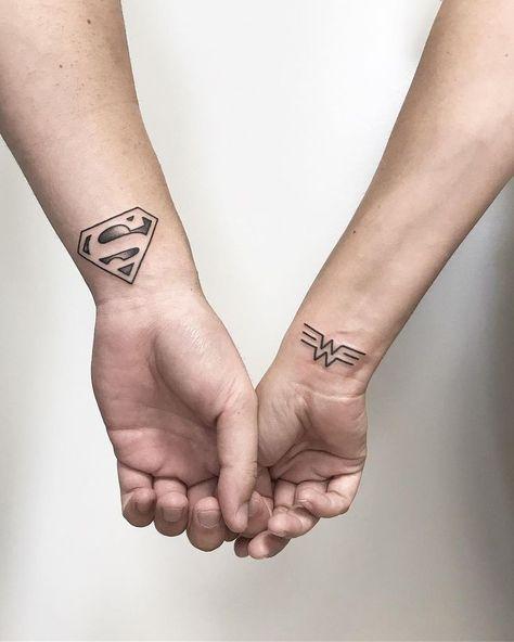 Wonder #Woman #• #Superman #Couple #Tattoos #  #Tattoo #Ideas #and #Inspiration