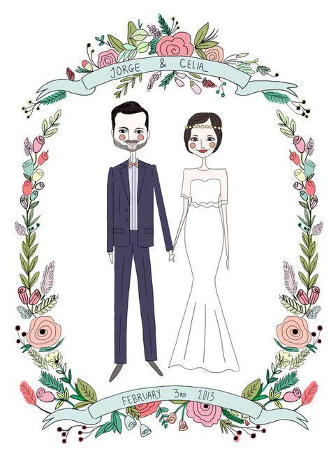 Custom wedding Invitation ,Couple Portrait , RSVP option, jpg and pdf file plus print. $85.00, via Etsy.