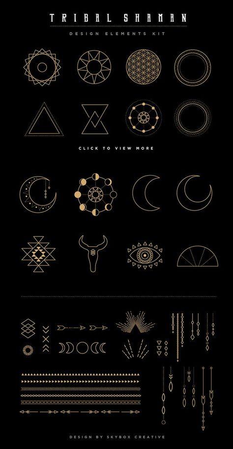 Mandala Set Tribal Elements and Shaman