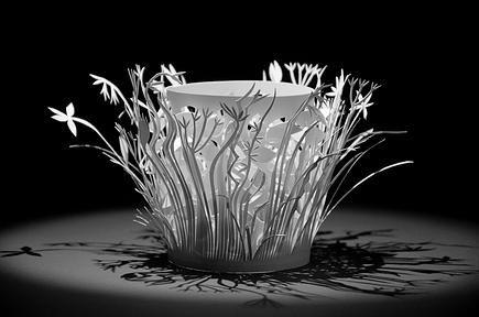 My meadow (2013)  15 / 15 cm Licht Objekt aus Künstlerpapier by Anna Bellmann Feine Papierobjekte - Fine Paper Objects | Lichtobjekte