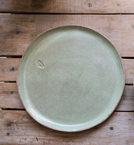 Ceramic plate set, SET OF 2, Big dinner rustic plate set, Pottery light green platter, Pottery servi