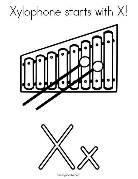 Xylophone Starts With X Coloring Page Twisty Noodle Coloring
