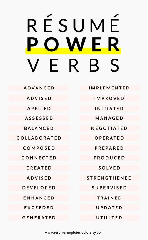 powerful words for resumes