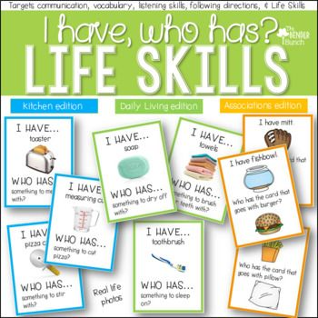 I Have Who Has For Life Skills 3 Game Sets Life Skills Life Skills Curriculum Vocational Activities