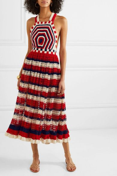 Red Paz Crocheted Cotton Midi Dress Ulla Johnson Cotton Midi Dress Crochet Long Dresses Crochet Dress Outfits