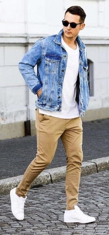 Season Transition Outfit With A White T Shirt Denim Jacket Sunglasses Tan Chinos White Sneakers Model Mens Casual Outfits Fall Outfits Men Mens Fashion Denim